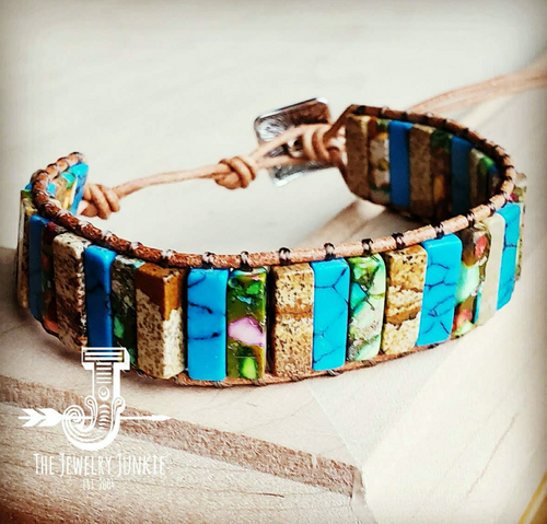 Woven Stacked Stone Bracelet - Turquoise & Picture Jasper