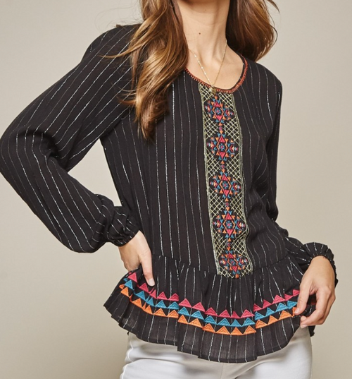 Woven Long Sleeve Top w/ Embroidery