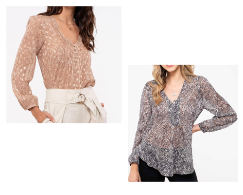 Snake Print Pin-Tuck Top