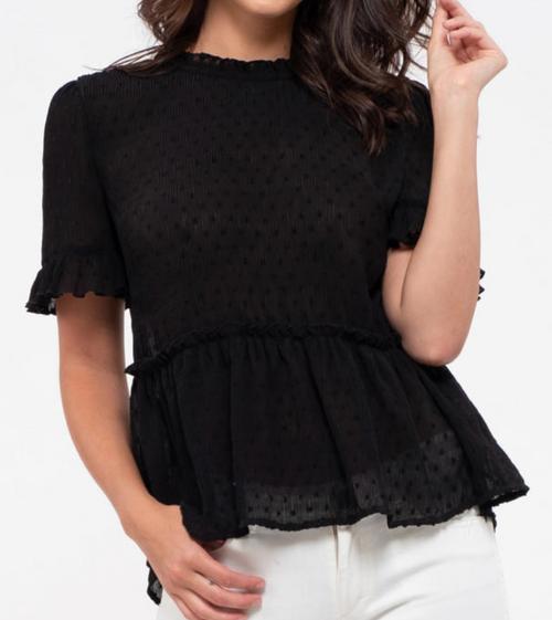 Black Polka Dot Fabric Ruffled Top