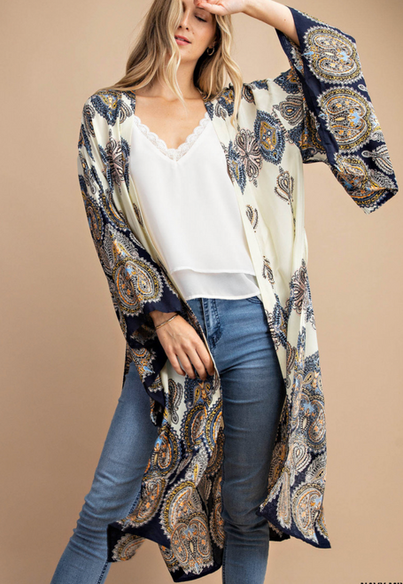 Navy Mix Print Kimono Sleeve Long Cardigan