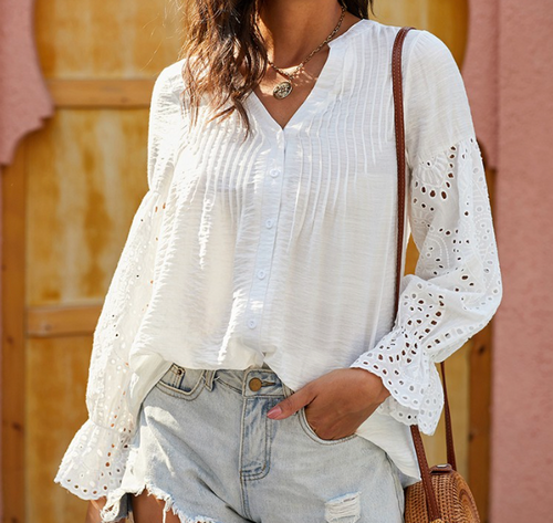Rekindle Eyelet Button Up Top