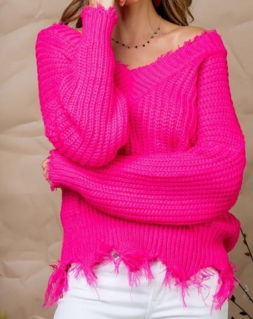 Fuchsia Frayed V Neck Sweater