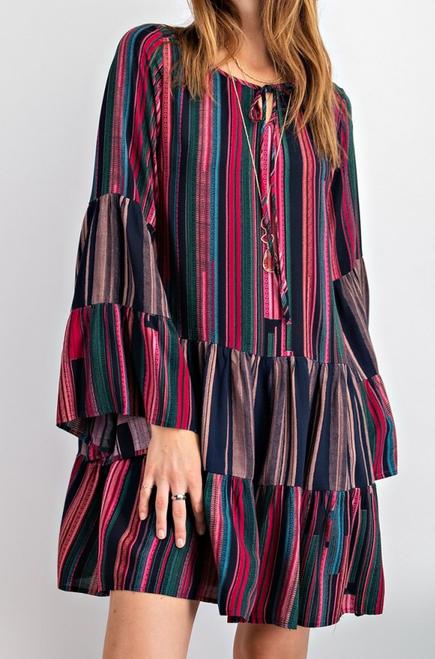 Bell Sleeve Printed Dress
