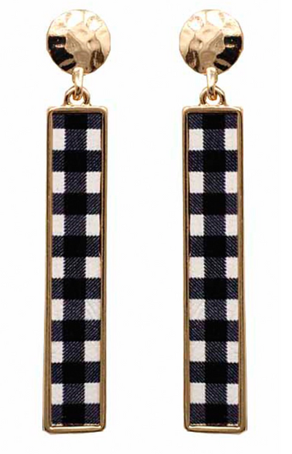 Buffalo Check Metal Dangle Earrings