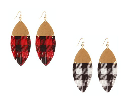 Metal & Fabric Buffalo Plaid Earrings