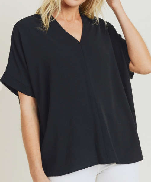 Solid V-Neck Boxy Top