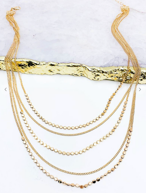 "Multi Strand Chain Layered Necklace 16""+3"""