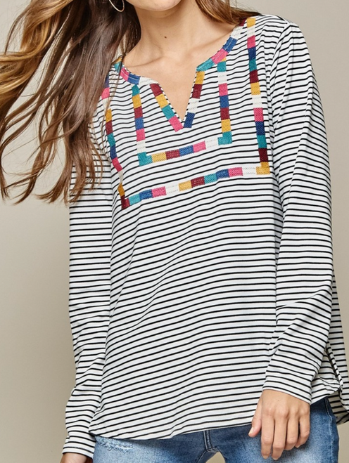 Stripe Knit Top w/ Embroidery