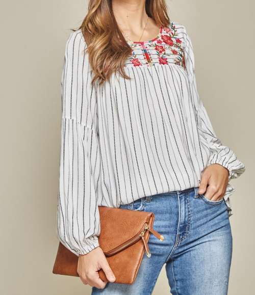 Floral Embroidery Long Sleeve Top