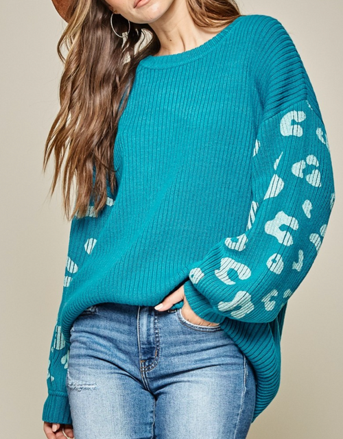 Teal Sweater w/ Leopard Contrast Sleeves