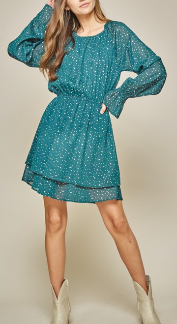 Pretty Flare Dress w/ Balloon Sleeves