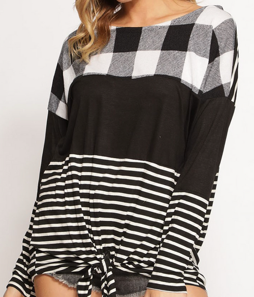 Checkered Print Block Knit Top