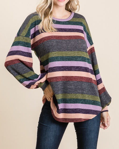 Multi Color Striped Top w/ Puff Sleeves