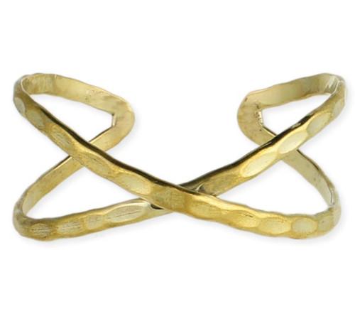 Gold Hammered Criss Cross Cuff