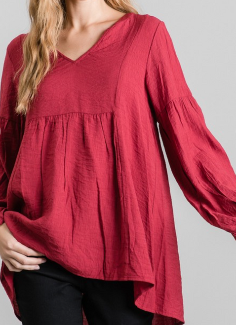 Burgundy Solid Hi-Lo Bubble Sleeve Top