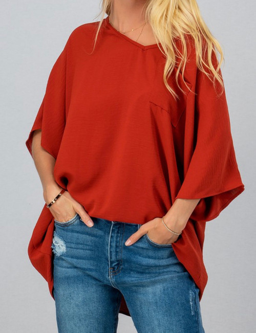 Solid Woven Oversized V Neck Top
