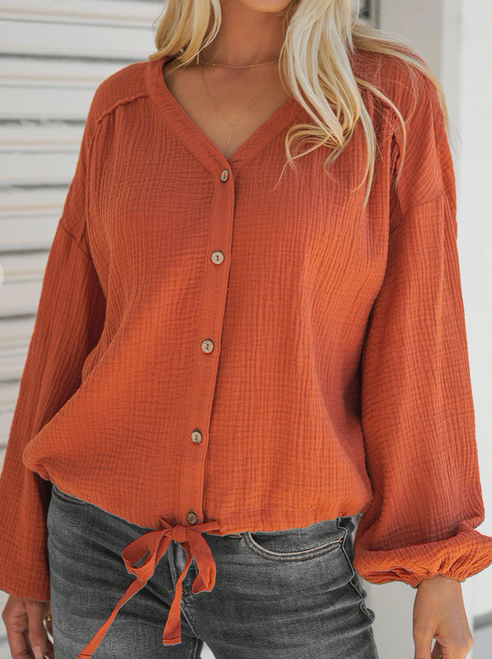 Button Down Raglan Sleeve Top
