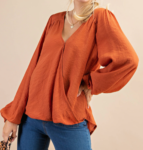 Kacy Long Sleeve Woven Top
