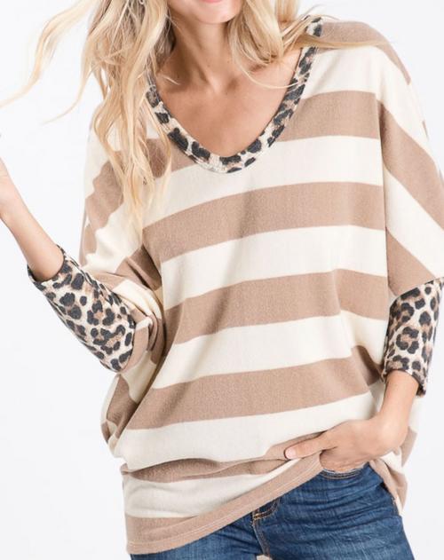 Charlotte Striped Top w/ Leopard