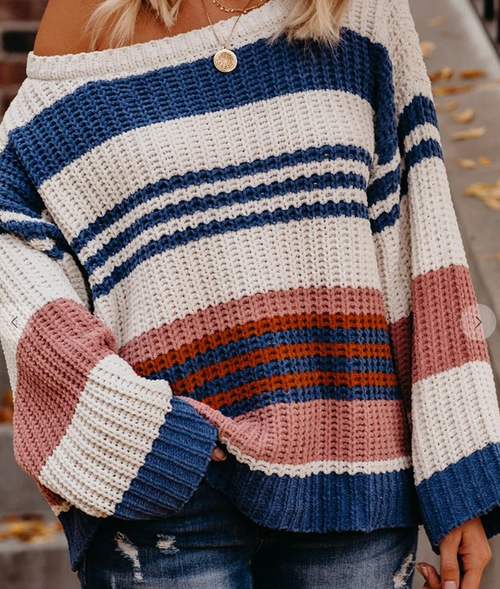 Evelyn Striped Knit Sweater