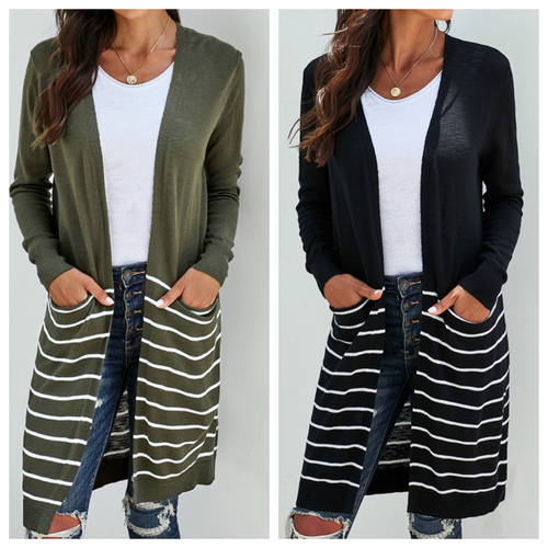 My Maria Open Front Cardigan w/ Stripes