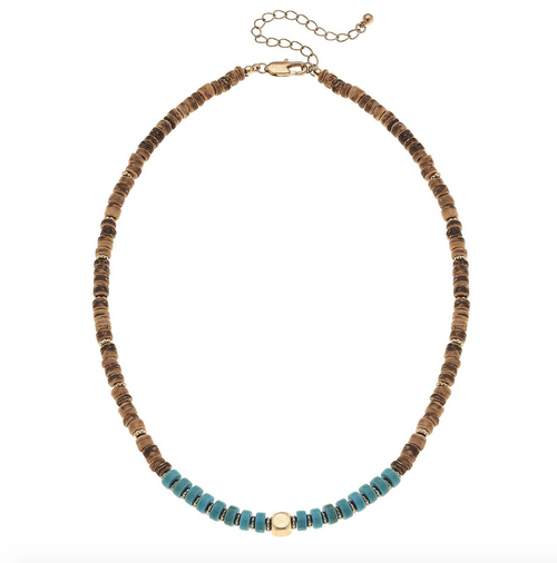 Luca Beaded Necklace in Brown Wood & Turquoise