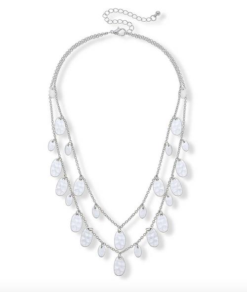 Makenna Layered Drip Necklace In Worn Silver