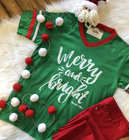 Merry & Bright Ringer Tee