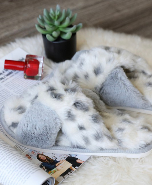 Gracie Gray Animal Print Slippers
