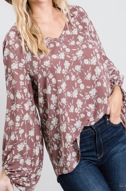 Beth Floral Print Top w/ Bubble Sleeves
