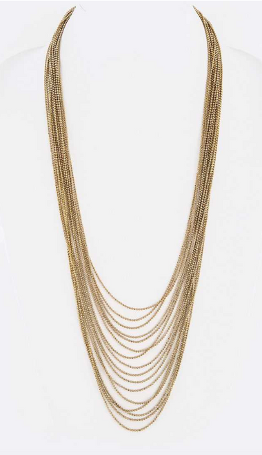 Geneva Antique Gold Layer Chain Necklace