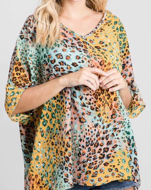 Adele Colorful Leopard Top
