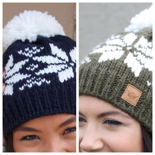 Snowflake Fleece Lined Hat w/ Pom