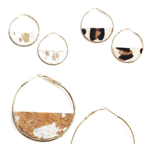 Animal Print Hoop Earring-Large