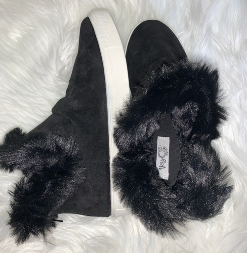 Bailey Ray Black Plush Slip On Bootie