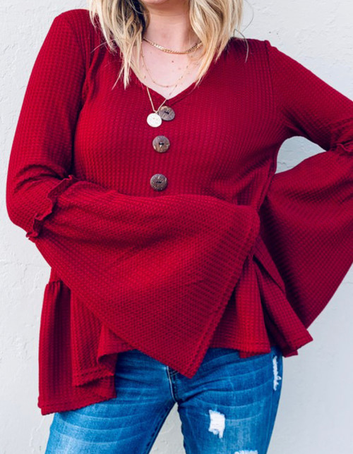 Victoria Burgundy Bell Sleeve Top