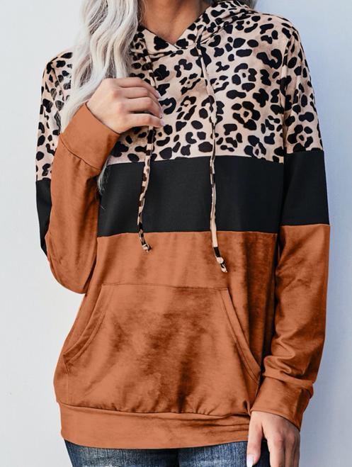 Natalie Leopard Tie Dye Colorblock Hoodie