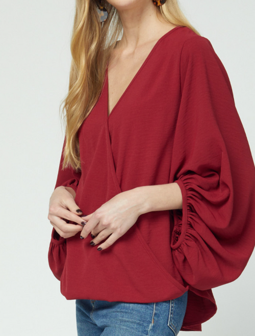 Zara Wrap Top w/ Bubble Sleeves