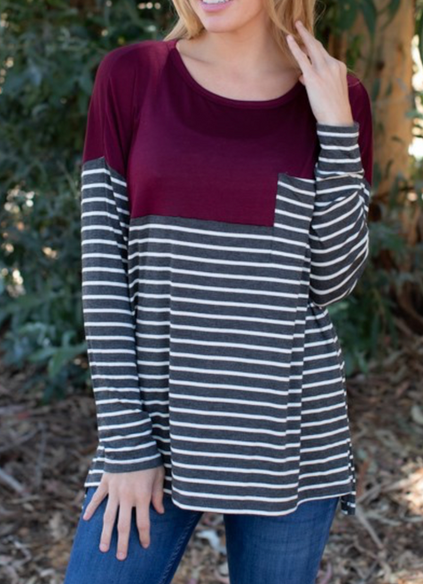 Sydnie Stripe Color Block Top