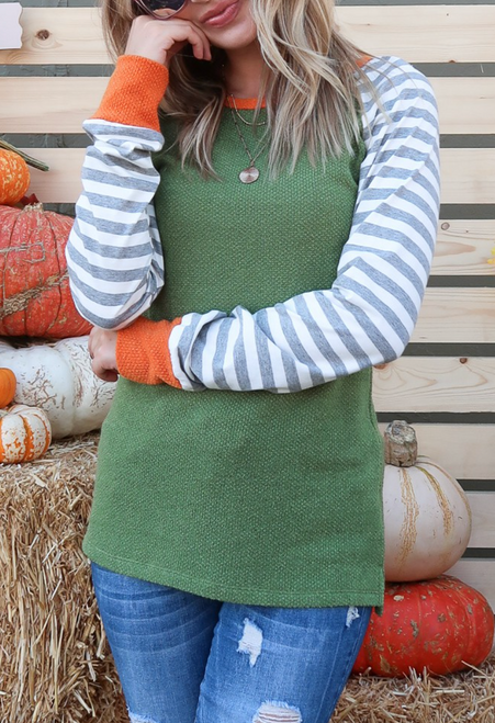 Avery Olive w/ Stripe Sleeves Top
