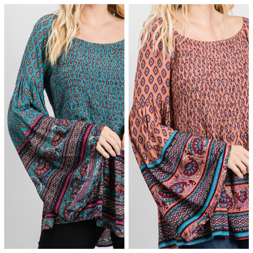Karly Smocked Bell Sleeve Top