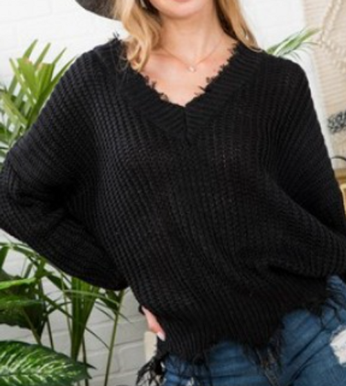 Ebony Frayed Sweater