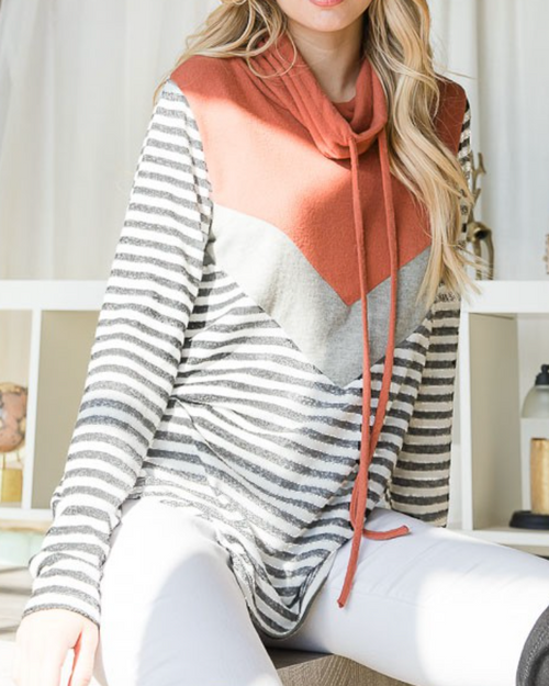 Carly Cowl Neck Color Block Top