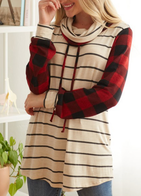 Aubree Plaid/Stripe Top