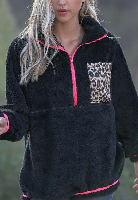 Julie Fuzzy Pullover w/ Leopard Pocket