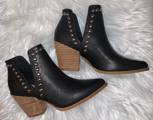 Misty Black Studded Booties
