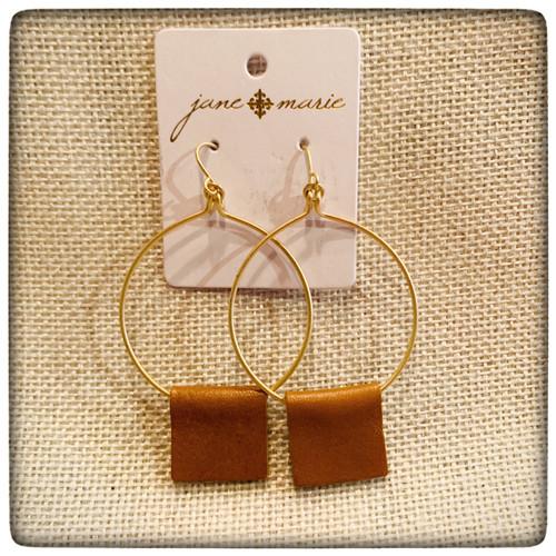 JM Gold Hoop w/ Brown Leather Earrings