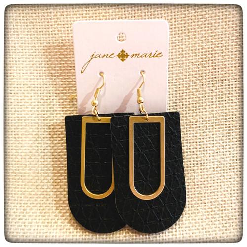 JM Gold & Black Leather Earrings