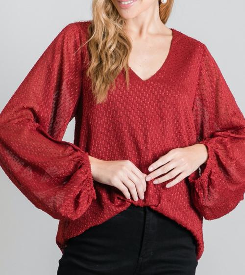 Jodi Burgundy Textured Top